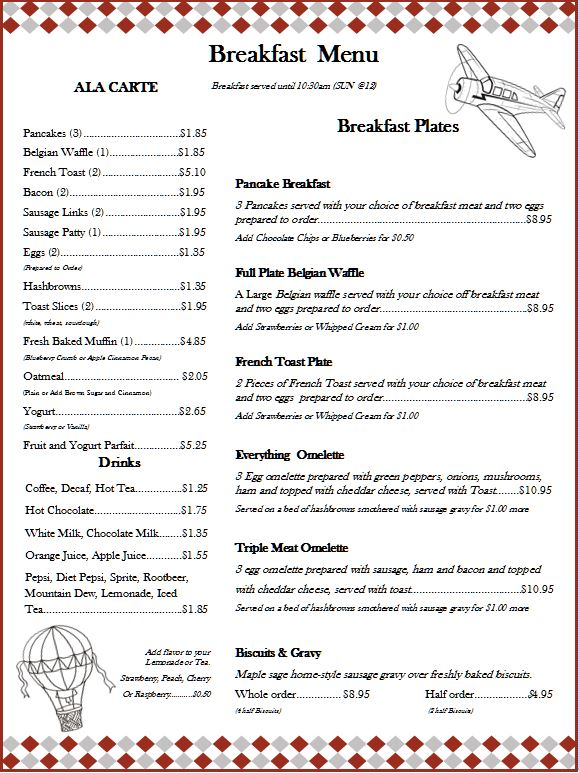 Prop Blast Cafe Breakfast Menu