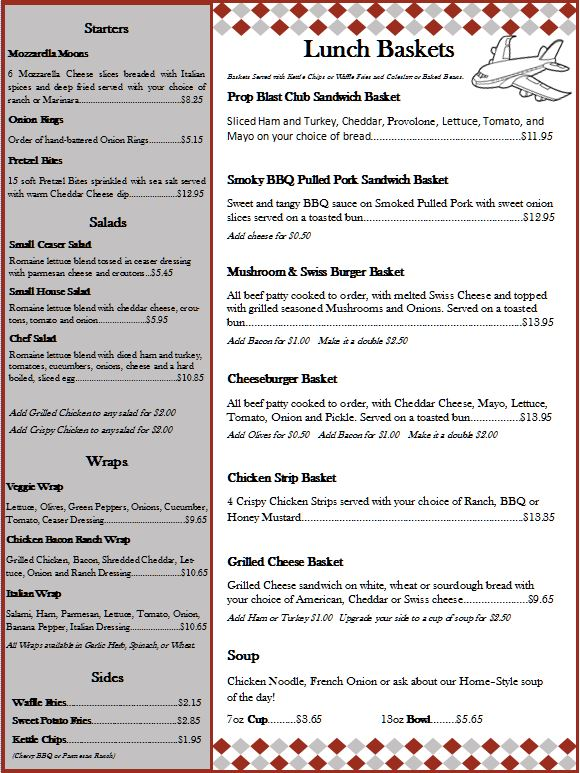 Prop Blast Cafe Lunch Baskets Menu