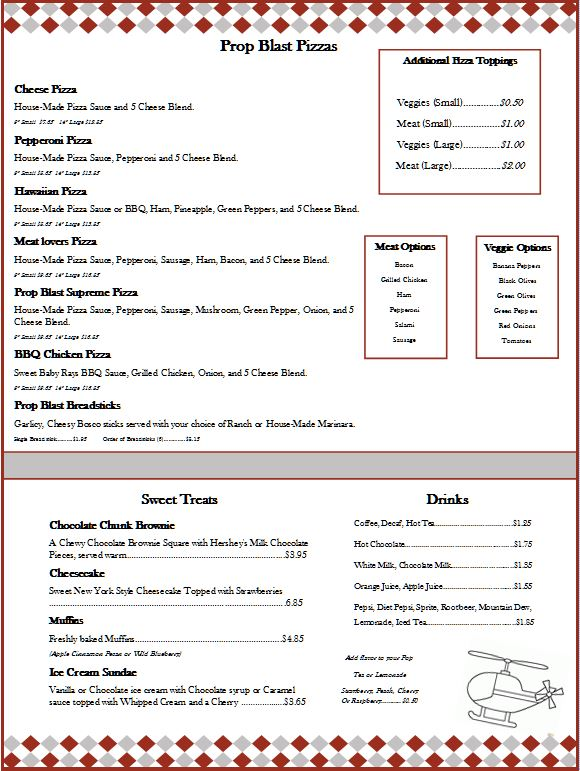Prop Blast Cafe Pizza Menu